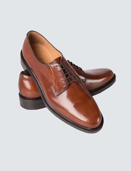Men's Tan Brown Cook Derby Shine Shoe