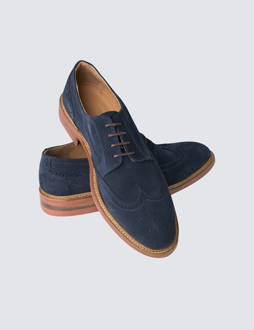 Men's Navy Suede Ali Brogue