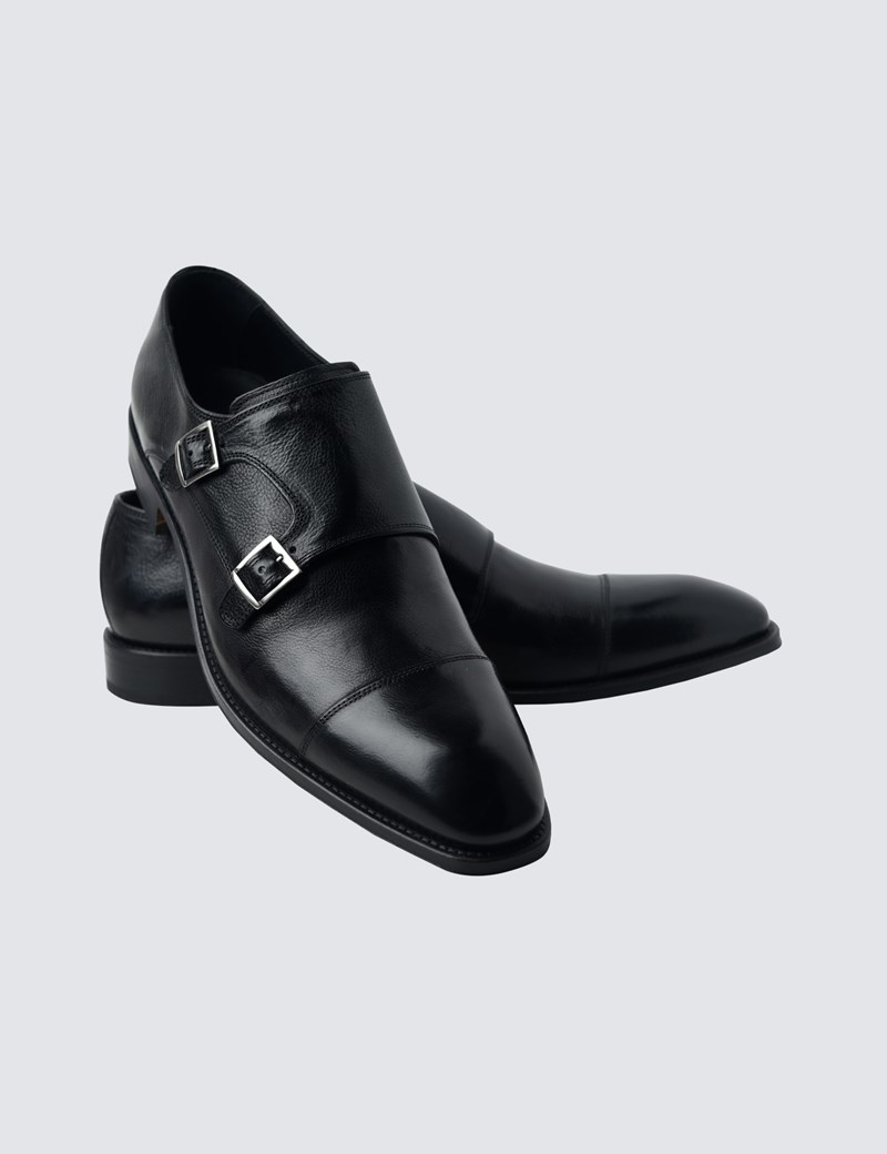 e2f30cdff0e98 Men's Black Leather Monk Shoe
