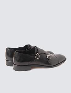 Men's Black Leather Monk Shoe