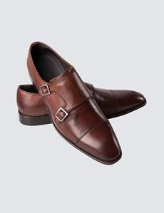 Business Schuhe – Monk – Doppelte Schnalle – Leder – Dunkelbraun