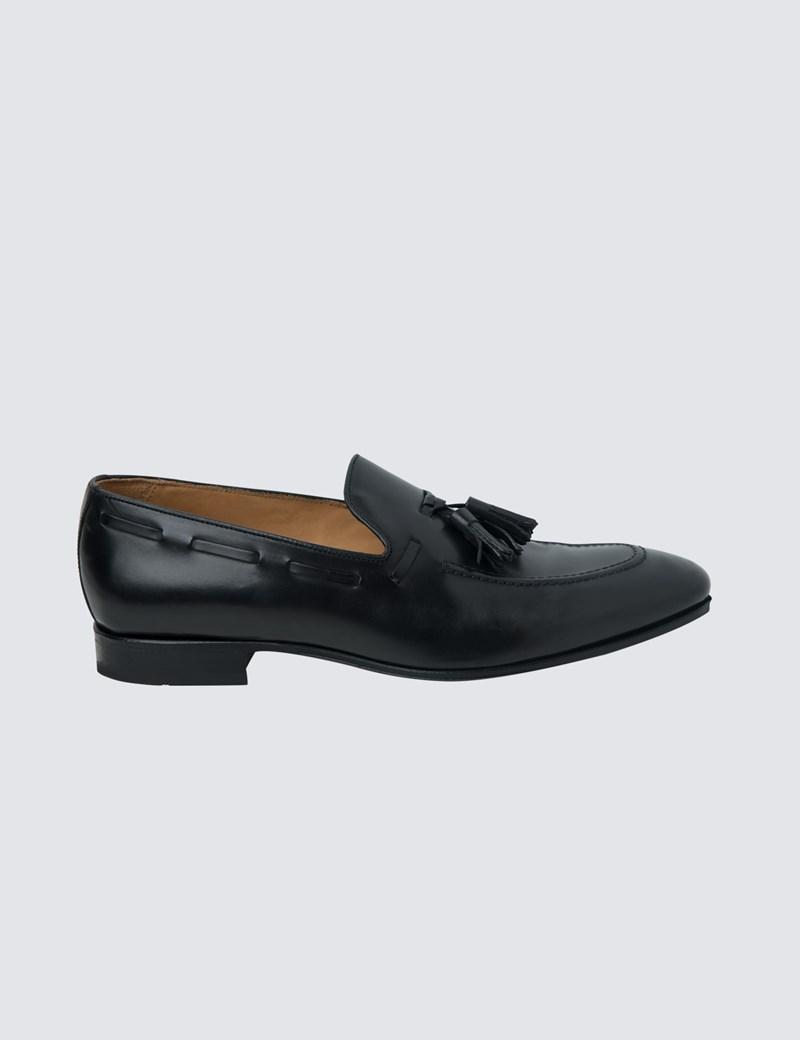 4a9303dac16d9 Men's Black Leather Tassel Loafer | Hawes & Curtis