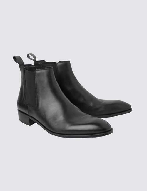 Men's Black Leather Chelsea Boot