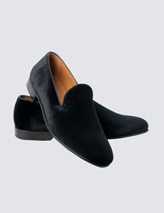 Men's Black Velvet Loafers