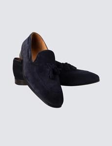 Slipper – Smart Casual – Tassel Loafer – Veloursleder – marine