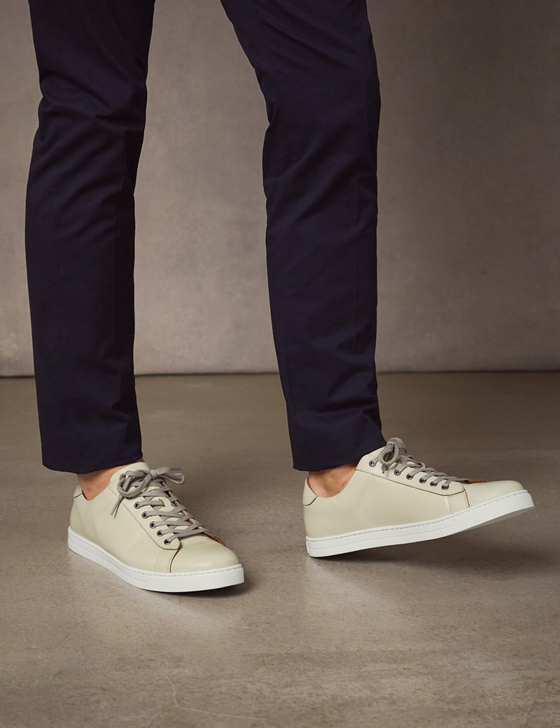 Men's White Leather Trainers