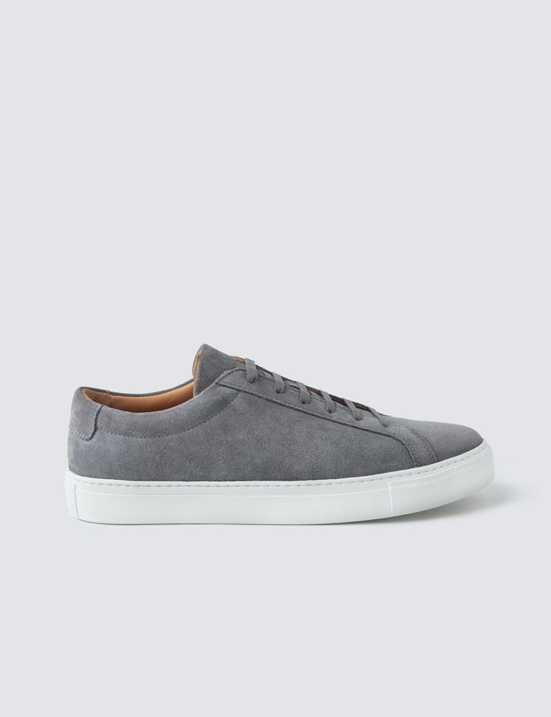 Men's Grey Suede & Leather Trainers