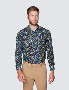 Men's Curtis Black and Blue Floral Print Cotton Stretch Shirt - Low Collar