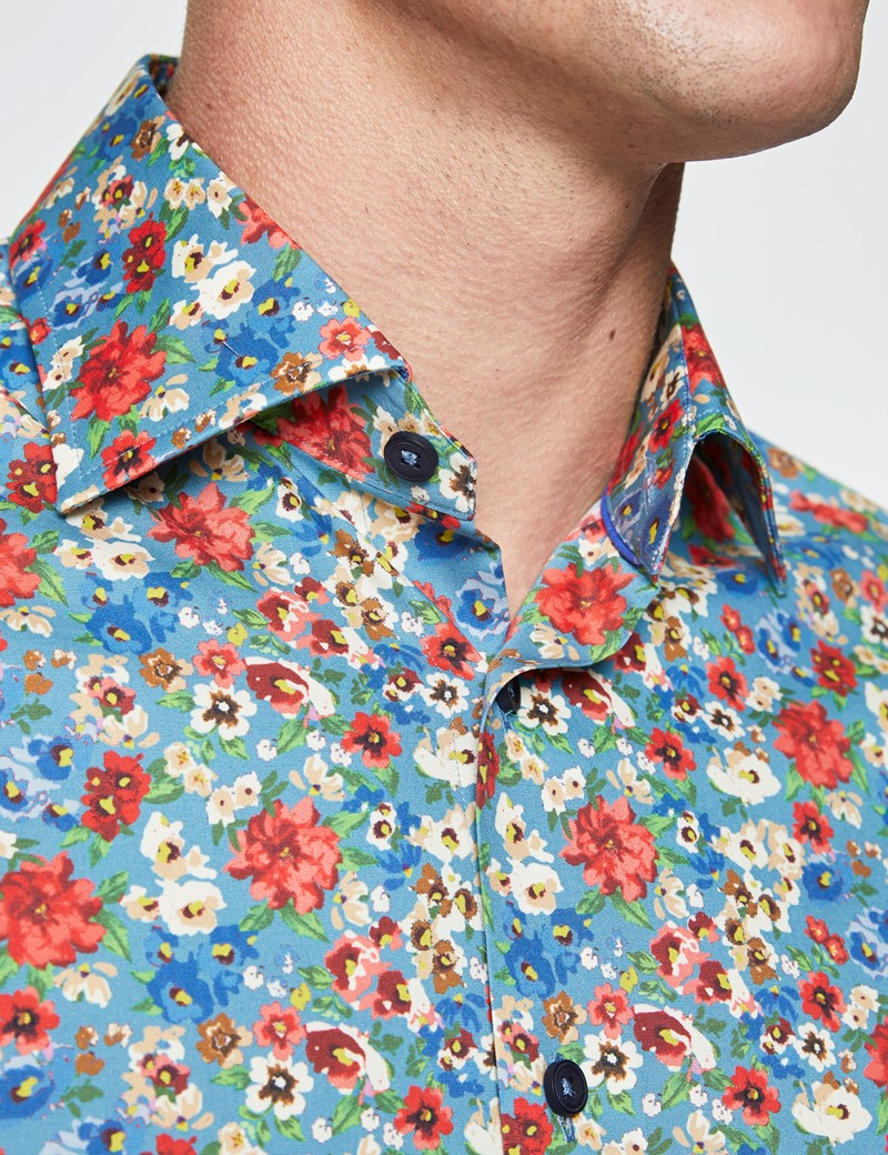Men's Curtis Blue and Cream Cotton Stretch Shirt - Low Collar
