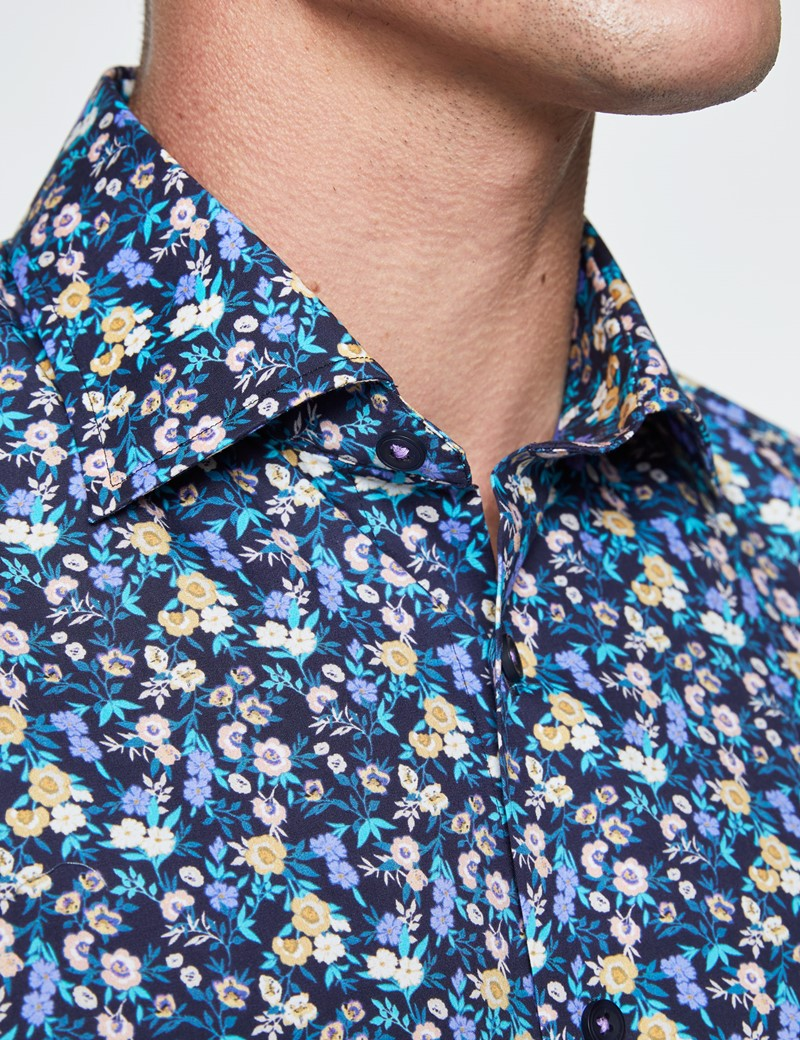 Men's Curtis Navy and Blue Cotton Stretch Shirt - Low Collar