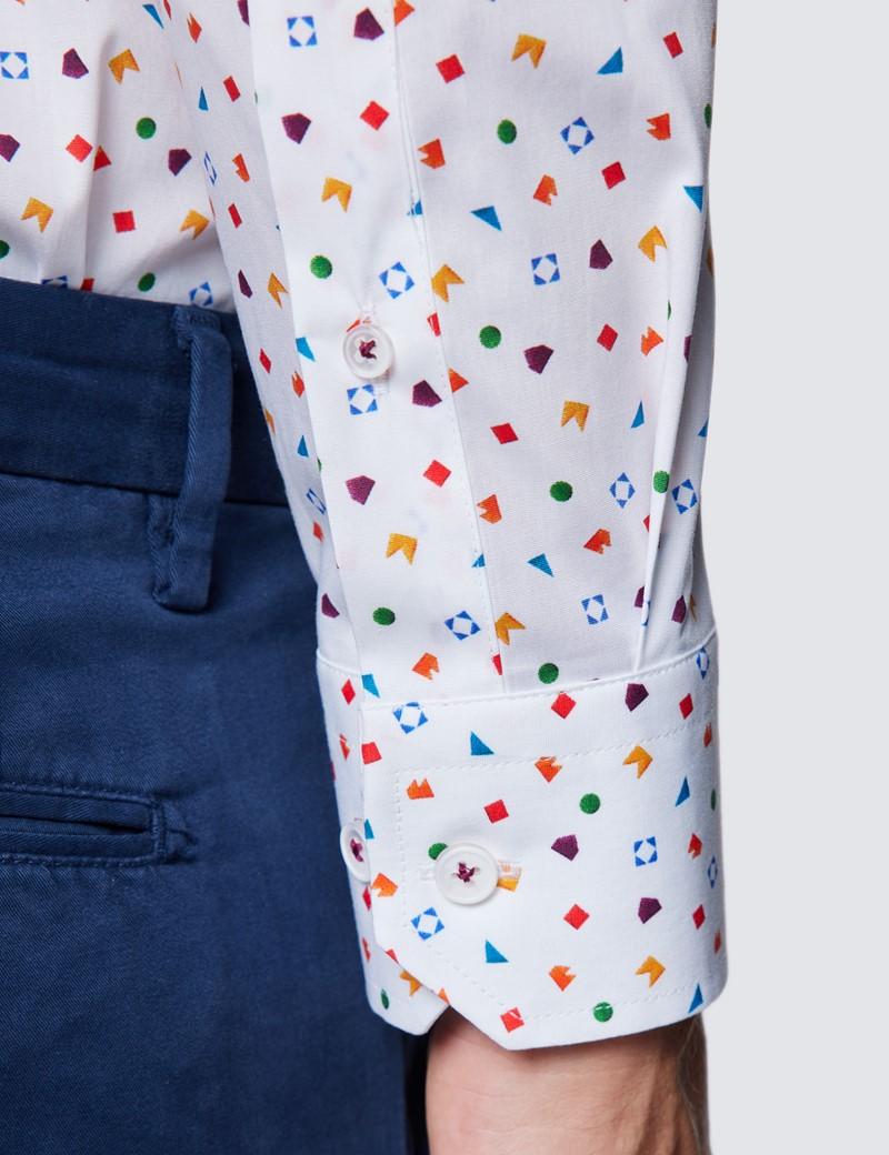 Men's Curtis White & Orange Geometric Print Piccadilly Stretch Slim Fit Shirt - Low Collar