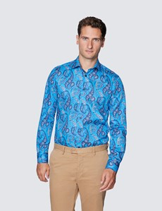 Men's Curtis Blue and Orange Paisley Print Cotton Shirt - Low Collar