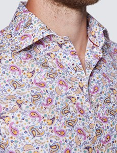 Men's Curtis White and Pink Micro Paisley Print Cotton Shirt - Low Collar