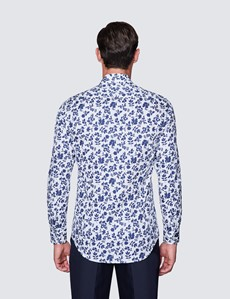 Men's Curtis White & Navy Diamond Weave Cotton Shirt - Low Collar