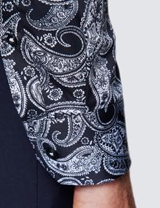 Men's Curtis White and Black Paisley Print Shirt - Low Collar