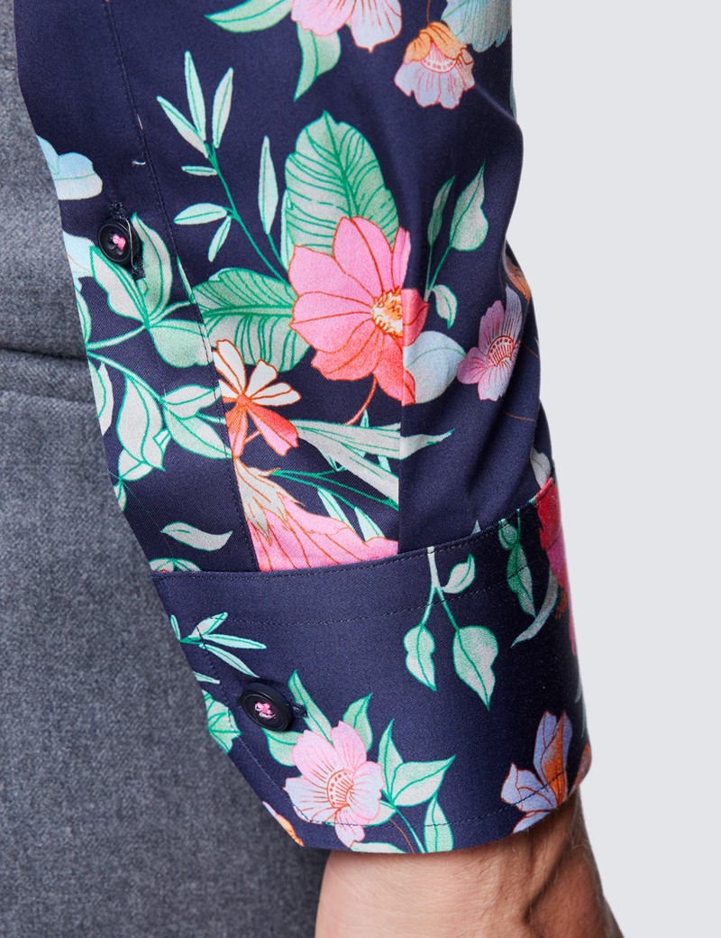 Men's Curtis Navy and Pink Leaf Print Cotton Shirt - Low Collar