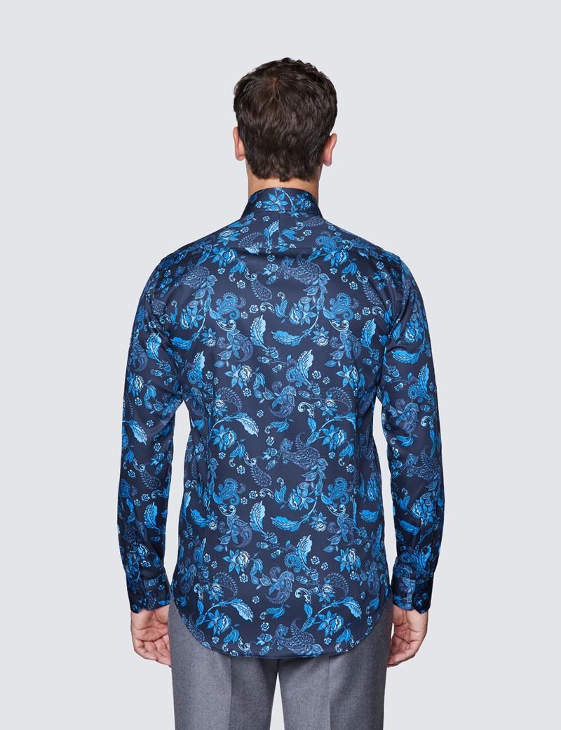Men's Curtis Navy and Blue Paisley Print Cotton Shirt - Low Collar
