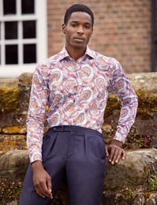 Men's Curtis Red and Orange Paisley Print Cotton Shirt - Low Collar