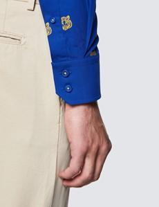 Men's Curtis Navy and Yellow Cotton Shirt - Low Collar