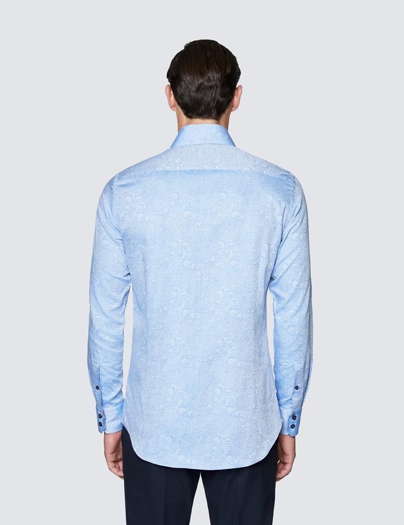 Men's Curtis Light Blue Paisley Print Shirt - Low Collar