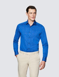 Men's Curtis Red and Navy Cotton Shirt  - Low Collar