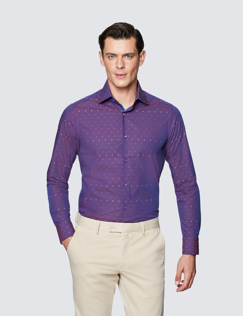 Men's Curtis  Purple and Red Cotton Shirt - Low Collar