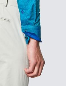Men's Curtis Green and Blue Cotton Shirt - Low Collar