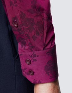 Men's Curtis Burgundy Floral Dobby Piccadilly Slim Fit Shirt - Low Collar