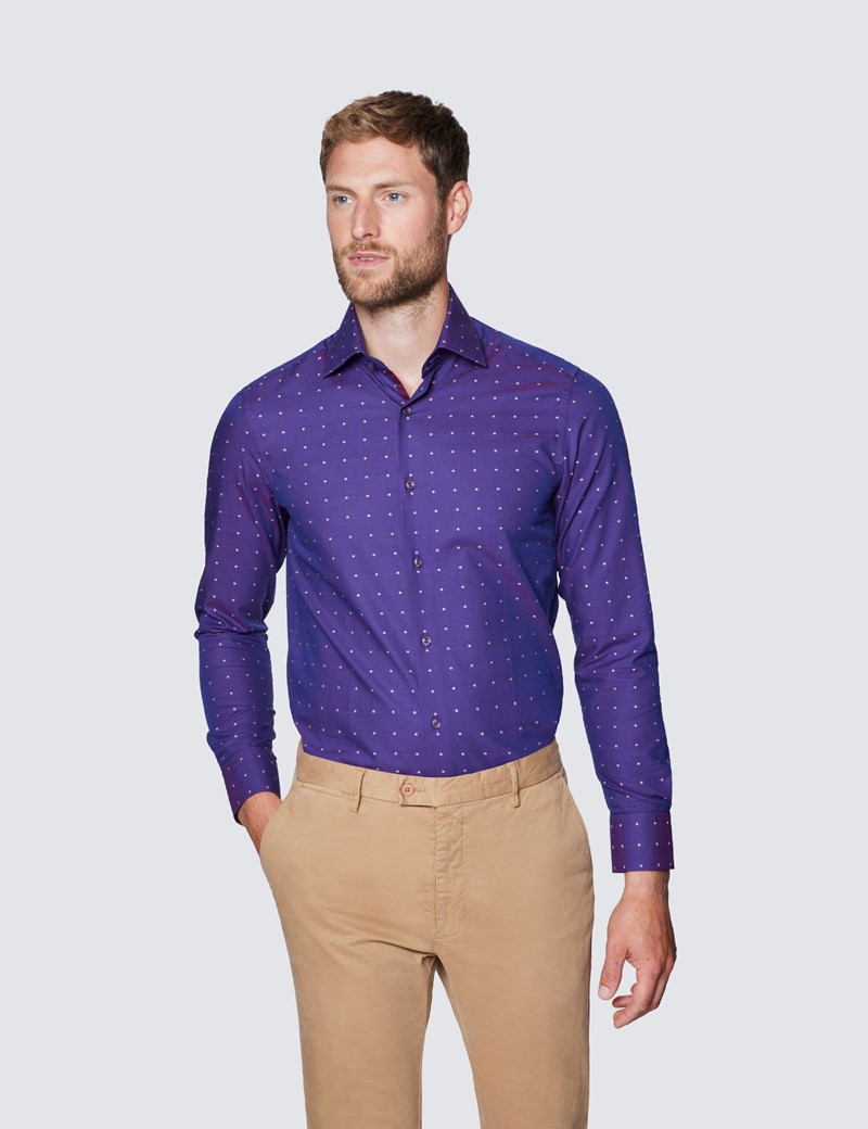 Men's Curtis Purple Tiny Dots Dobby Piccadilly Slim Fit Shirt - Low Collar