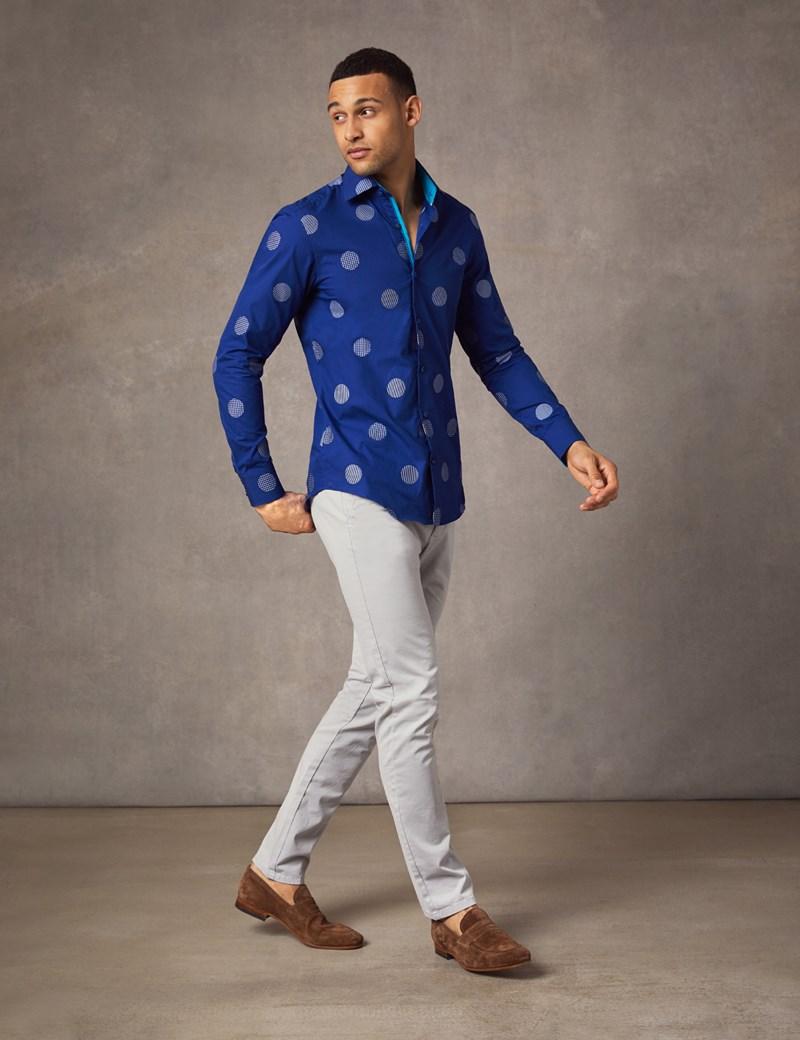 Men's Curtis Navy & White Large Spot Slim Fit Shirt - Single Cuff