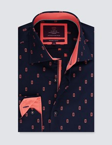 Men's Curtis Navy & Orange Dobby Slim Fit Shirt with Contrast Detail - Single Cuff