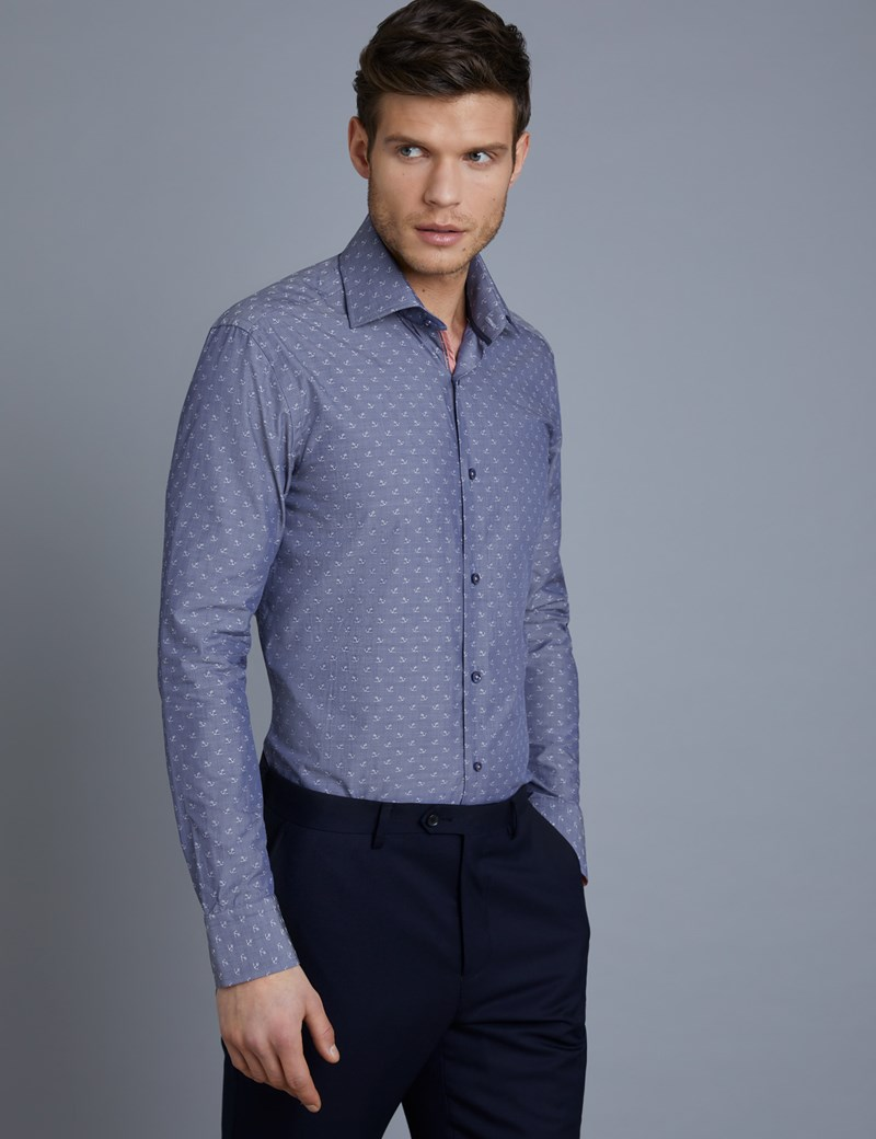 Men's Curtis Blue & White Anchor Print Slim Fit Shirt with Contrast Detail - Single Cuff