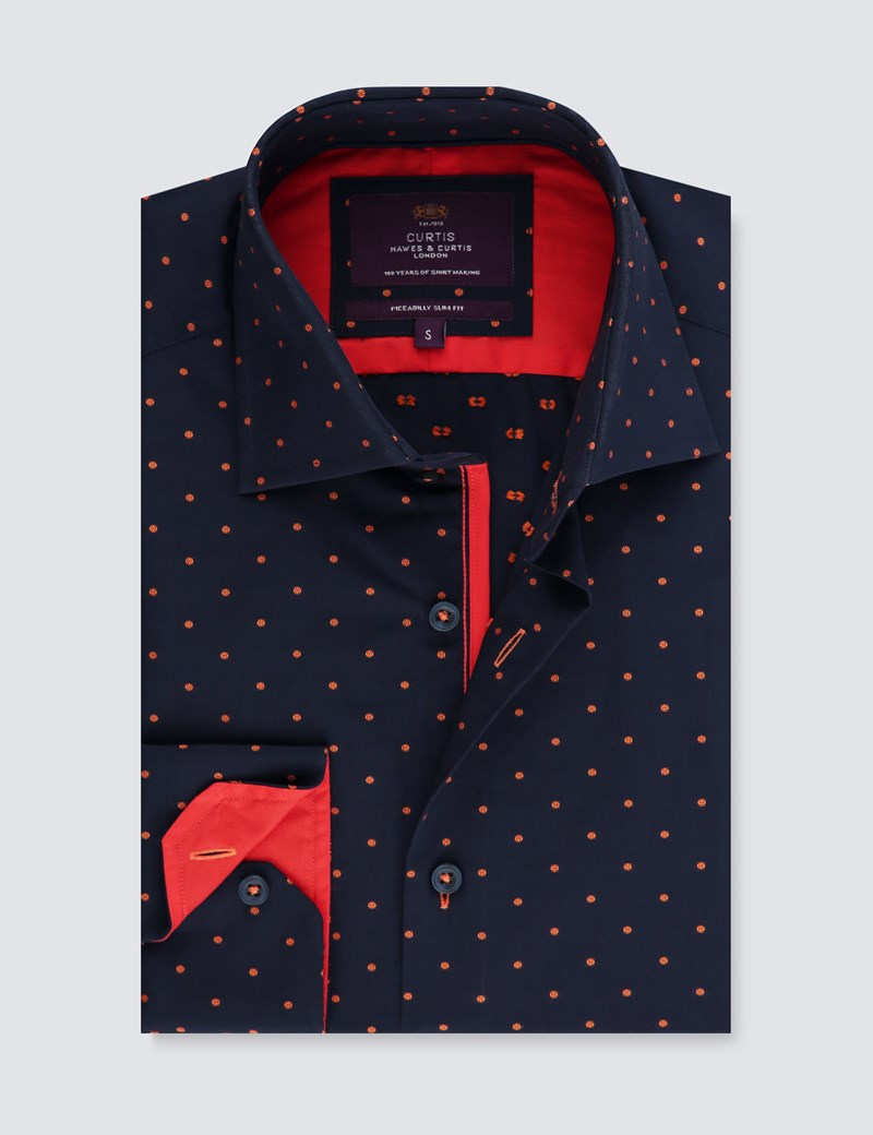 Men's Curtis Navy & Orange Dobby Spot Slim Fit Shirt with Contrast Detail - Single Cuff