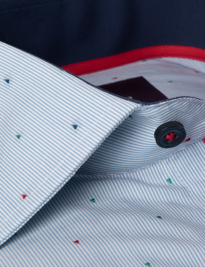 Men's Curtis Blue & Red Dobby Weave Slim Fit Shirt - Single Cuff