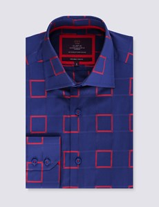 Men's Curtis Navy & Red Dobby Squares Slim Fit Shirt - Single Cuff