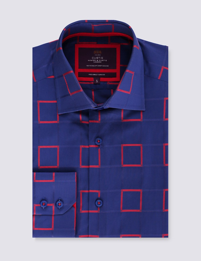 Men's Curtis Navy & Red Squares Print Slim Fit Shirt - Single Cuff