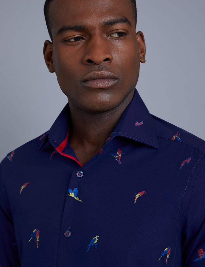 Men's Curtis Navy Parrot Print Dobby Weave Slim Fit Shirt - Single Cuff