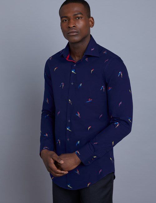 Men's Curtis Navy Parrot Print Dobby Weave Slim Fit Shirt - Single Cuff
