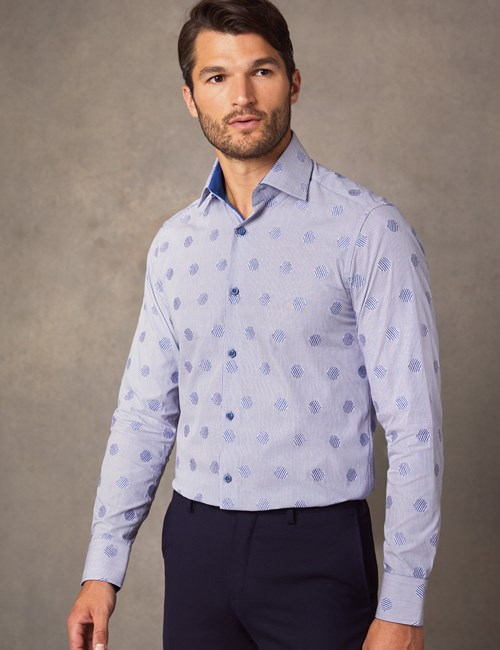 Men's Curtis Blue & White Dobby Stripy Spots Slim Fit Shirt - Single Cuff