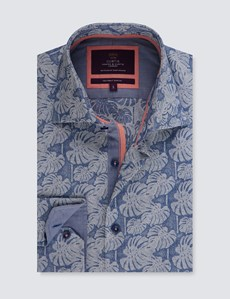 Men's Curtis Blue Jacquard Palm Leaf  Slim Fit Shirt - Single Cuff