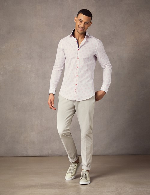 Men's Curtis White & Red Dobby spot Slim Fit Shirt - Single Cuff