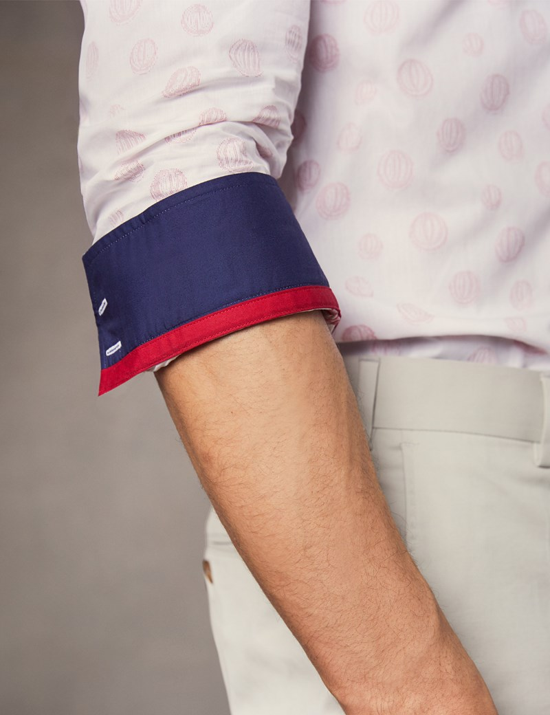 Men's Curtis White & Red Dobby spot Slim Fit Shirt - Single Cuff