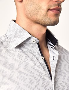 Casualhemd – Slim Fit – Picadilly – Geometrisches Jacquard