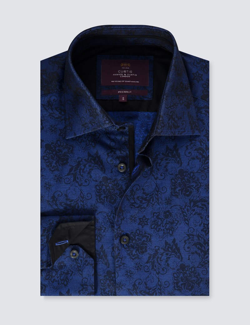 Men's Curtis Black & Blue Jacquard Floral Slim Fit Shirt - Single Cuff
