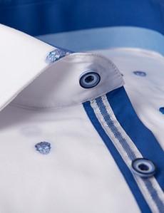 Men's Curtis Navy & White Dobby Skulls Slim Fit Shirt - Single Cuff