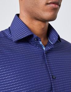 Men's Curtis Navy & Blue Geometric Dobby Slim Fit Shirt - Single Cuff