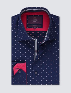 Men's Curtis Navy & Red Dobby Spot Slim Fit Shirt - Single Cuff