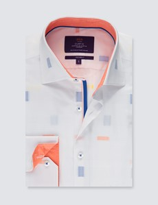 Men's Curtis White & Orange Geometric Dobby Slim Fit Shirt - Single Cuff