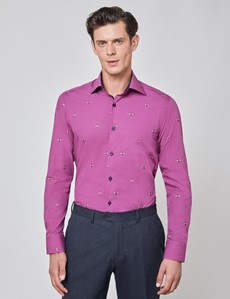 Men's Curtis Fuchsia & Gold Flying Bees Print Piccadilly Relaxed Slim Fit Shirt - Low Collar - Single Cuff