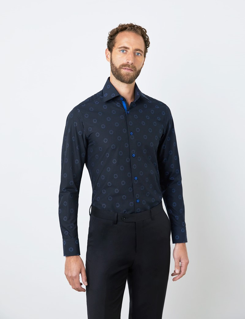 Men's Curtis Black & Blue Jacquard Large Spots Piccadilly Relaxed Slim Fit Shirt - Low Collar - Single Cuff